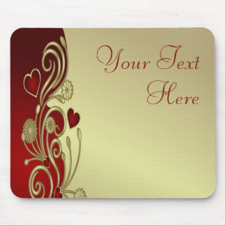 Red Gold Hearts Scrolls Mouse Pads