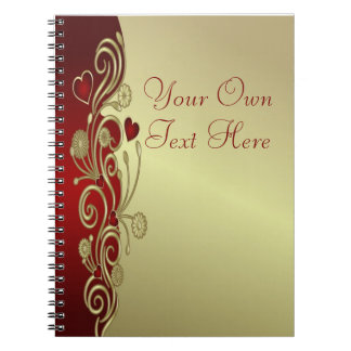 Red & Gold Hearts & Scrolls Note Book