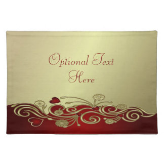 Red & Gold Hearts & Scrolls Placemat