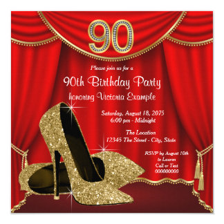 Red Gold High Heel 90th Birthday Party 13 Cm X 13 Cm Square Invitation Card