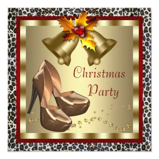 Red Gold High Heel Shoes Leopard Christmas Party 13 Cm X 13 Cm Square Invitation Card