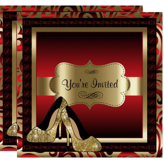 Red & Gold High Heels Birthday Invitation