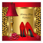 Red Gold High Heels Roses Leopard Birthday Party 2 13 Cm X 13 Cm Square Invitation Card