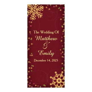Red Gold Holiday Snowflakes Wedding Program Rack Card Template