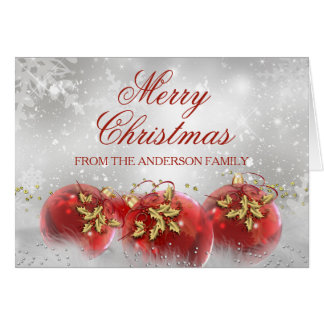 Red & Gold Holly Baubles Christmas Card