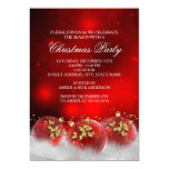 Red Gold Holly Baubles Christmas Party Invite