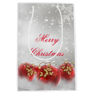 Red & Gold Holly Baubles Silver Merry Christmas Medium Gift Bag