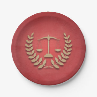 Red+Gold Justice Scales Law Firm/Law Graduation Paper Plate