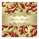 Red Gold Leaf Red Gold Corporate Christmas Party 13 Cm X 13 Cm Square Invitation Card