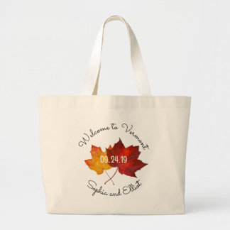 Red Gold Leaves Weekend Wedding Welcome Large Tote Bag
