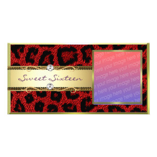 Red Gold Leopard Sweet Sixteen Photocard Photo Greeting Card