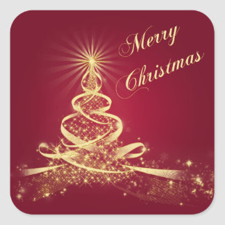 Red, Gold  Lighted Tree Merry Christmas Sticker
