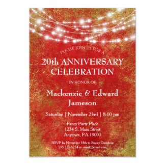 Red Gold Lights Anniversary Party Invitation