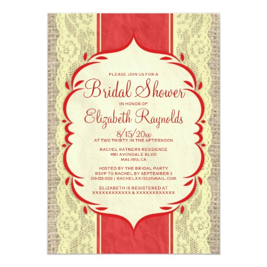 Red Gold Linen Burlap Lace Bridal Shower Invites