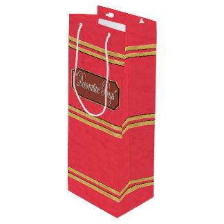 Red Gold Lines Wine Gift Bag