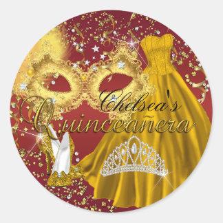 Red & Gold Mask Masquerade Quinceanera Sticker