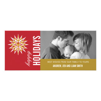 RED GOLD MODERN HOLIDAY PHOTO CARD