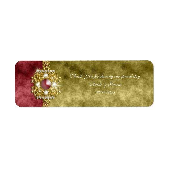 Red gold olive damask wedding