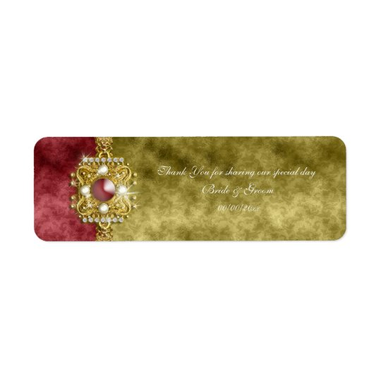 Red gold olive damask wedding return address label