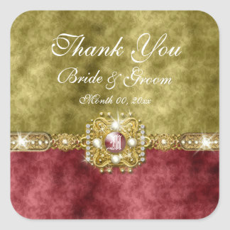 Red gold olive damask wedding square sticker
