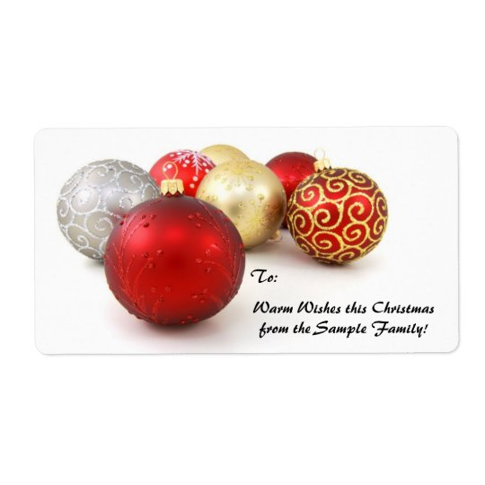 Red, Gold Ornament Custom Christmas Gift Tag Label
