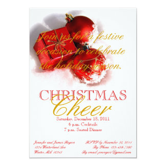Red Gold Ornaments Christmas Party Invitations