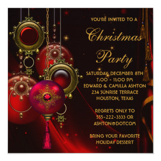 red gold ornaments corporate christmas party card - Corporate Holiday Party Invitations