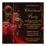 Red Gold Ornaments Corporate Christmas Party Invites