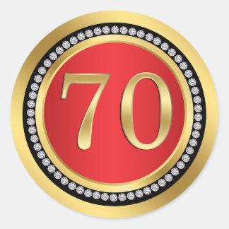 Red, gold, print diamonds 70th Birthday Round Sticker