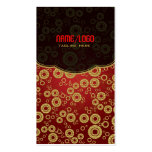 Red & Gold Retro Circle Random Pattern Business Card