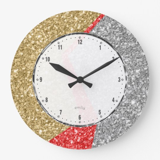 Red gold & Silver colours glitter geometric design Large Clock