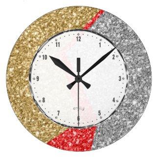 Red gold & Silver colours glitter geometric design