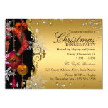 Red Gold Snowflake Christmas Dinner Party 4a 13 Cm X 18 Cm Invitation Card