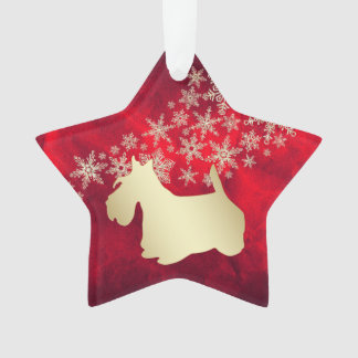 Red Gold Snowflake Scottie Dog Ornament