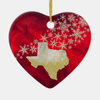 Red Gold Snowflake Texas Heart Christmas Ornament