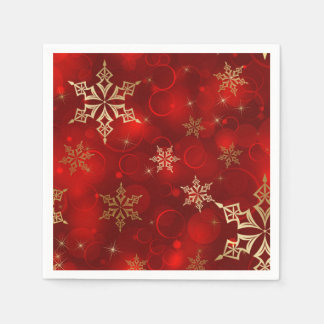 Red & Gold Snowflakes Christmas Holiday Napkins Paper Serviettes