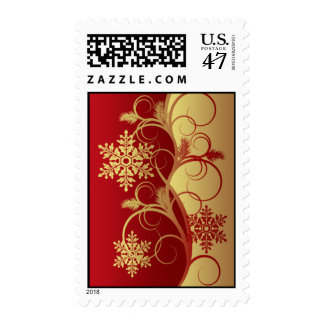 Red/Gold Snowflakes Christmas Postage