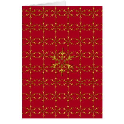 Red & Gold Snowflakes Greeting Card