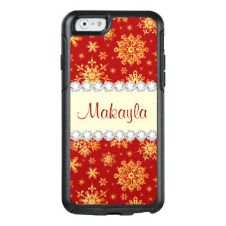 Red Gold  Snowflakes Vintage Christmas Pattern OtterBox iPhone 6/6s Case