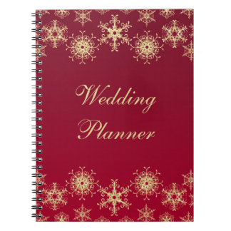 Red, Gold Snowflakes Wedding Planner Notebook