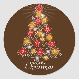 Red & Gold Star Christmas Tree 2 Round Stickers