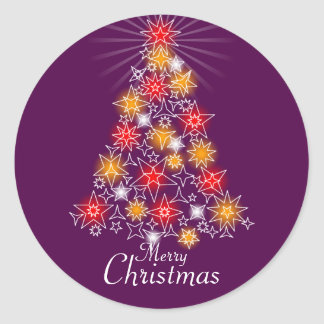 Red & Gold Star Christmas Tree 3 Round Sticker
