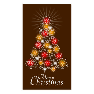 Red & Gold Star Christmas Tree Gift Tag 2 Business Cards