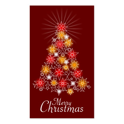 Red & Gold Star Christmas Tree Gift Tag Business Card