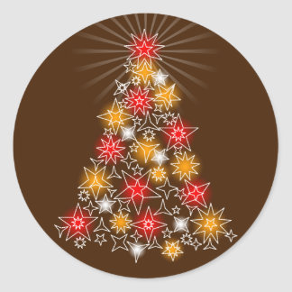 Red & Gold Stars Fancy Christmas Tree 2 Round Sticker