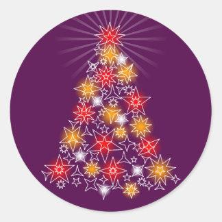 Red & Gold Stars Fancy Christmas Tree 3 Round Sticker