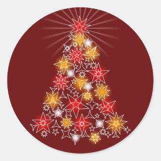 Red & Gold Stars Fancy Christmas Tree Round Sticker