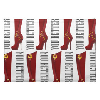 Red/Gold Stiletto Boots Placemats