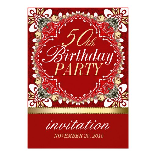 Red+Gold Tropical 50th Birthday Party Invitations