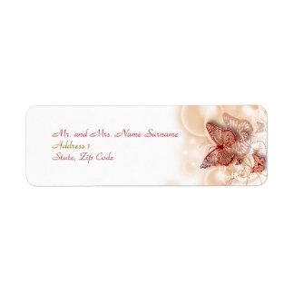Red gold wedding engagement address return address label
